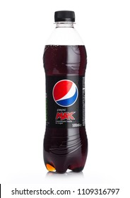 LONDON, UK - JUNE 02, 2018: Plastic bottle of Pepsi Cola MAX soft drink on white.American multinational food and beverage company
