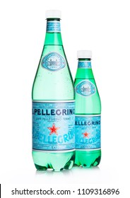 LONDON, UK - JUNE 02, 2018: Plastic Bottles of San Pellegrino mineral water on white background. San Pellegrino is an Italian brand of mineral water produced and bottled by Nestle