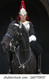 LONDON, UK - JUNE 06: Trooper of the Blues and Royals on horse at the horse guard parade on June 06, 2012 in London, UK. Blues and Royals is one of two most senior regiments of the British Army