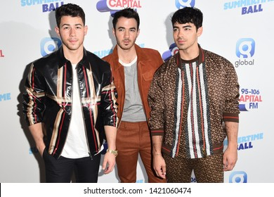 LONDON, UK. June 08, 2019: Jonas Brothers poses on the media line before performing at the Summertime Ball 2019 at Wembley Arena, LondonPicture: Steve Vas/Featureflash
