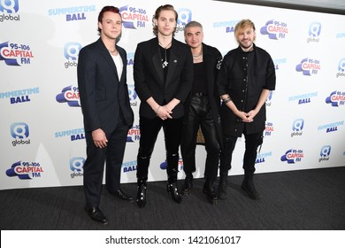 LONDON, UK. June 08, 2019: 5 Seconds of Summer poses on the media line before performing at the Summertime Ball 2019 at Wembley Arena, LondonPicture: Steve Vas/Featureflash