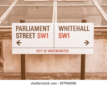 LONDON, UK - JUNE 09, 2015: Parliament Street and Whitemall sign in the City of Westminster vintage