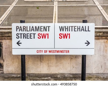 LONDON, UK - JUNE 09, 2015: Parliament Street and Whitemall sign in the City of Westminster (HDR)