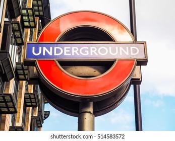 LONDON, UK - JUNE 09, 2015: Tube sign of London Underground subway (HDR)