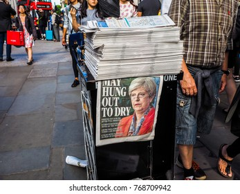 LONDON, UK - JUNE 09, 2017: Theresa May on the Evening Standard front page on the day after the general elections which resulted in a hung parliament, high dynamic range