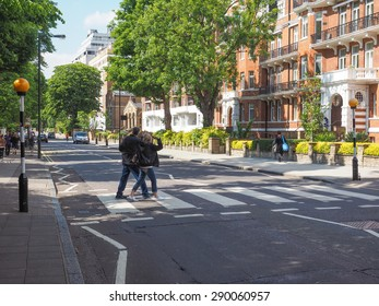 LONDON, UK - JUNE 10, 2015: Abbey Road zebra crossing made famous by the 1969 Beatles album cover