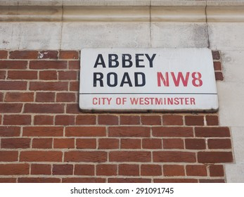 LONDON, UK - JUNE 10, 2015: Abbey Road sign made famous by the 1969 Beatles album cover