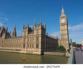 LONDON, UK - JUNE 10, 2015: Houses of Parliament aka Westminster Palace seen from Westminster Bridge