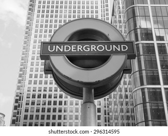 LONDON, UK - JUNE 10, 2015: Tube sign of London Underground subway in black and white