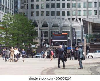 LONDON, UK - JUNE 10, 2015: Workers at the Canary Wharf business centre which is the largest business district in the United Kingdom