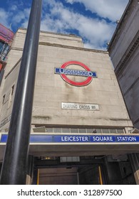 LONDON, UK - JUNE 10, 2015: Leicester Square underground station