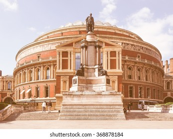 LONDON, UK - JUNE 10, 2015: People visiting the Royal Albert Hall concert room vintage