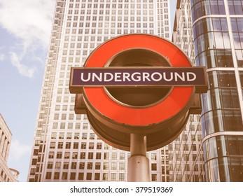 LONDON, UK - JUNE 10, 2015: Tube sign of London Underground subway vintage