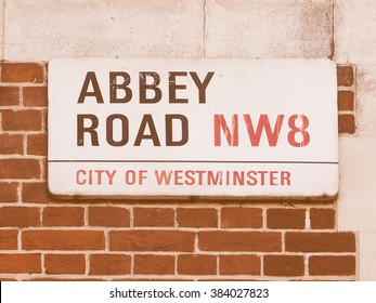 LONDON, UK - JUNE 10, 2015: Abbey Road sign made famous by the 1969 Beatles album cover, vintage