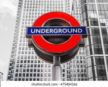 LONDON, UK - JUNE 10, 2015: Tube sign of London Underground subway (HDR)