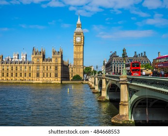 LONDON, UK - JUNE 10, 2015: Houses of Parliament aka Westminster Palace seen from Westminster Bridge (HDR)