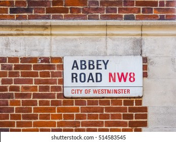 LONDON, UK - JUNE 10, 2015: Abbey Road sign made famous by the 1969 Beatles album cover (HDR)