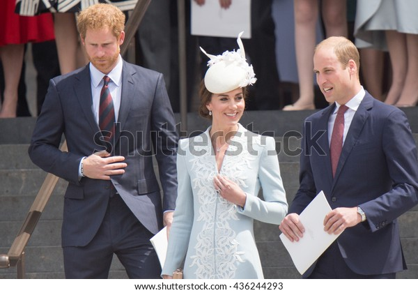 LONDON, UK - JUNE 10: Princess Kate Middleton, Prince William and Harry are seen on the steps of St Pauls on the June 10, 2016 in London, UK