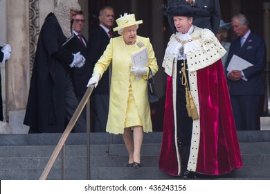 LONDON, UK - JUNE 10: The Royal family are seen on the steps of St Pauls on the June 10, 2016 in London, UK