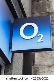LONDON, UK - JUNE 10TH 2015: The O2 company logo above an O2 store in central London, on 10th June 2015.