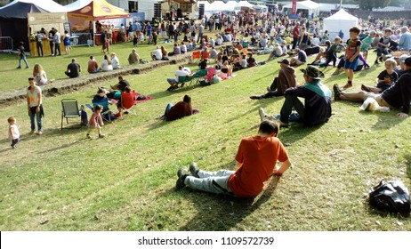 LONDON/ UK- JUNE 10th 2018: Crowds enjoy the yearly Folk festival, held in the abbey ruins, at Barking, east London.