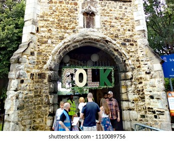 LONDON/ UK- JUNE 10th 2018: People at the entrance of the Barking folk festival, which is held in the historic, Barking Abbey in east London.
