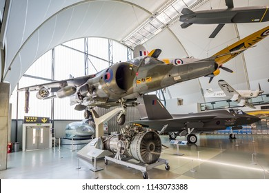 London UK June 11th 2015 : Harrier jet and other exhibits at the RAF Museum in Hendon, London, UK