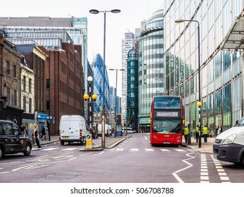 LONDON, UK - JUNE 12, 2015: People in busy Shoreditch High Street in the Liverpool Station area (HDR)