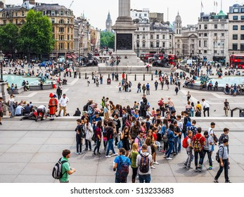 LONDON, UK - JUNE 12, 2015: Tourists visiting Trafalgar Square (HDR)