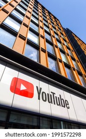 London, Uk, June 12th 2021: The YouTube Space London, logo and facade, 6 Pancras Road, Kings Cross, London. For virtual and pop-up events designed to aid content creators hosted by Youtube.
