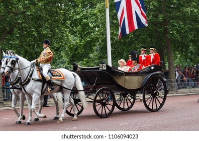 LONDON, UK - JUNE 13, 2015: Queen Elizabeth ii with Prince Philip during her birthday ceremony on the carriage, on June 13, 2015 in London, UK