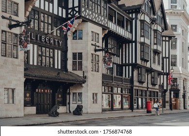 London, UK - June 13, 2020: Facade of closed Liberty Department Store in London and empty street in front of it. Opened in 1875 it is famous for luxury goods and classic Liberty designs.