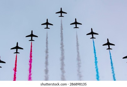 LONDON, UK - JUNE 13: Trooping the Colour ceremony, Red Arrows flyby on June 13, 2015 in London