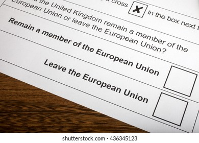 LONDON, UK - JUNE 13TH 2016: The options on the EU Referendum Ballot Paper, taken on 13th June 2016. The options are either for the UK to Remain in the European Union or Leave the European Union.