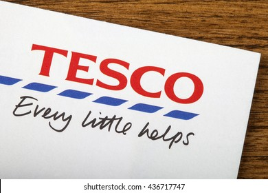 LONDON, UK - JUNE 13TH 2016: A close-up of the Tesco logo and slogan on a promotional leaflet, on 13th June 2016.