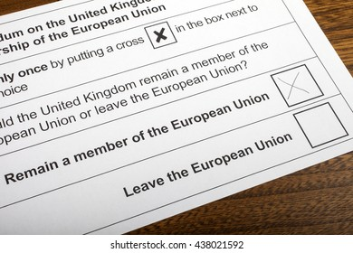 LONDON, UK - JUNE 13TH 2016: The EU Referendum Ballot Paper, with a cross next to the option for the UK to Remain a member of the European Union, taken on 13th June 2016.