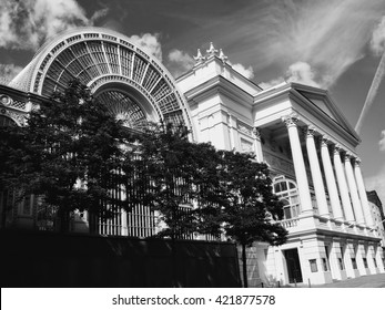 London, UK, June 14 2009 -  Black and white image of The Royal Opera House at Covent Garden, which is the home of the Royal Opera and the Royal Ballet