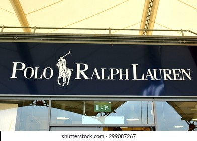 London, UK - June 14, 2015: Detail of the entrance to a Polo Ralph Lauren shop. Polo Ralph Lauren designs, markets and sells men's, women's and children's fashion products to customers worldwide.