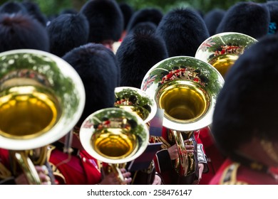 LONDON, UK - JUNE 14: Queen's guards with pipes, on June 14, 2014 in London.