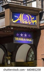 LONDON, UK - JUNE 14TH 2017: The sign for the Aladdin theatre show on the exterior of the Prince Edward Theatre in the West End, London, on 14th June 2017.