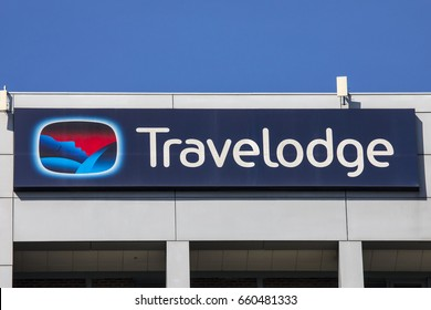 LONDON, UK - JUNE 14TH 2017: A sign at a Travelodge hotel in central London, on 14th June 2017.