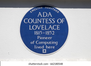 LONDON, UK - JUNE 14TH 2017: A blue plaque marking the location where Ada Countess of lovelace lived in St. Jamess Square in London, UK, on 14th June 2017.