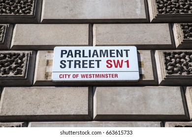 LONDON, UK - JUNE 14TH 2017: The street sign for Parliament Street in the city of Westminster in London, UK, on 14th June 2017.