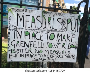 London / UK - June 14th 2018: One Year anniversary memorial silent march of the Grenfell tower fire tragedy which caused 72 deaths, more than 70 others were injured and 223 people escaped.
