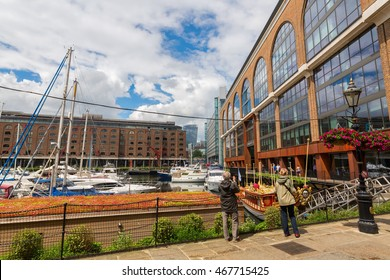 London, UK - June 15, 2016: St. Katharine Docks with unidentified people. The docks were part of the Port of London in the Docklands, and are now a popular housing and leisure complex