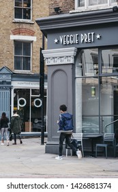 London, UK - June 15, 2019: People walking past Veggie Pret A Manger, London, an international sandwich shop chain based in UK and has approximately 500 shops in nine countries.