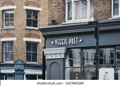 London, UK - June 15, 2019: Exterior of Veggie Pret A Manger, London, a vegetarian branch of international sandwich shop chain that is based in UK and has approximately 500 shops in nine countries.