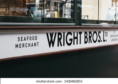 London, UK - June 15, 2019: Close up of Wright Bros seafood merchant stall inside Spitalfields Market, one of the finest Victorian Markets in London with stalls offering fashion, antiques and food.