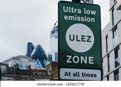 London, UK - June 15, 2019: Signs indicating Ultra Low Emission Zone (ULEZ) on a street in London. ULEZ was introduced in 2019 to help improve air quality in the capital.