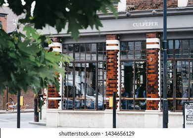 London, UK - June 15, 2019: Exterior of The Culpeper pub in Shoreditch, a trendy area of Londons East End that is home to an array of markets, bars and restaurants.